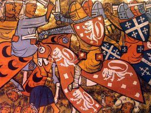 Horseback battle scene from Histoire du Voyage et Conquete de Jerusalem, 1337, (Image courtesy of Malcolm Billings)